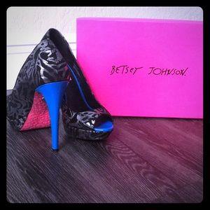 Metallic Grey and Black Heels